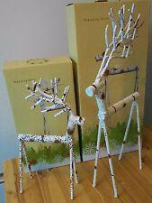2 Cracker Barrel Primitive Metal Standing Deer Looks Like Wood Nib Large & Small