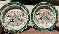 Chinese Antique Vintage Floral Famille Rose Porcelain Plate Pair