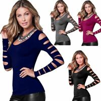 Ladies Long Sleeve Cut Out Top Womens Casual Scoop Neck Fancy Dress T Shirt Tee