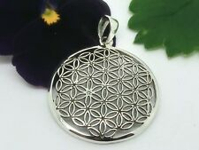 Schöner Blume des Lebens Anhänger Amulett 925 Silber Ø 2,6cm Esoterik Mandala
