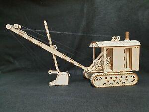 Laser Cut Wooden Vintage Steam Shovel 3D Model/Puzzle Kit