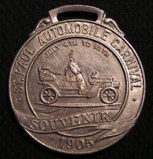 1905 ST PAUL AUTOMOBILE CARNIVAL WATCH FOB - Antique Vintage Auto Car Medal MN