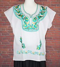 XL PEASANT BOHO SILK EMBROIDERED MEXICAN BLOUSE TOP 100% COTTON HUIPIL