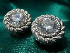 Judith Ripka Earrings CZ Diamonique Stud Pierced w/Jackets Sterling Silver