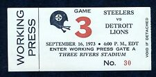 Pittsburgh Steelers-Lions 1973 Press Pass BRADSHAW 3-TDs Three Rivers Stadium