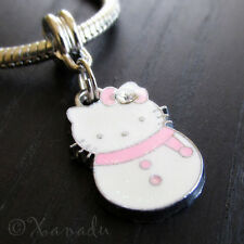 Pink Hello Kitty Snowman European Charm Bead For Charm Bracelets And Necklaces