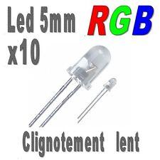 10x Led 5mm RGB clignotement lent 6000mcd