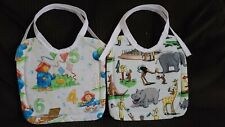 New listing 2 New Handmade Paddington Bear & Curious George Baby/Toddler Bibs With Ties