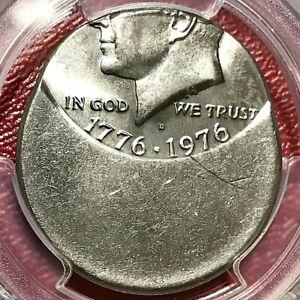 1976-D BICENTENNIAL KENNEDY HALF PCGS MS-66 50% OFF-CENTER MINT ERROR