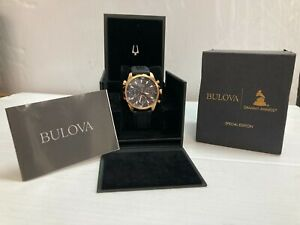 Bulova Mens Marine Star Chronograph Rose Gold Platted Black Rubber Watch 97B153