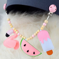 Wooden Teether Baby Pacifier Clip Chain Silicone Personalize  Pram Clip Bell MW