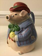1987 Fitz & Floyd Bacon & Eggs 1 1/2 Quarts Pig Coffee Pot Teapot Japan