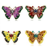 Vintage Women Alloy Rhinestone Butterfly Enamel Brooch Lapel Pin Fashion Jewelry