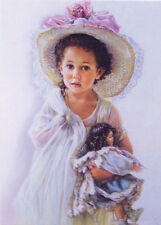 ART Sandra KUCK Kid Child Little Girl in Hat with Doll Modern Postcard #11