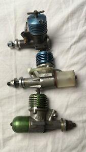 3x AM Blue and Green head diesel motor engines aero model