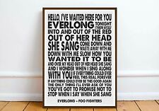 Foo Fighters - 'Everlong' wall art quote poster music lyrics love romance gift