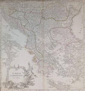 Antica mappa Turchia Grecia Bulgaria Serbia Bosnia Albania De Vaugondy 1757