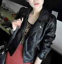 Women's Warm PU Leather Biker Jacket Coat Short Punk Zipper Jacket Outwear