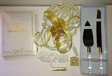 Set de Boda Lazo, Arras, pala/cuchillos, liga, libro de firma color Oro y Blanco