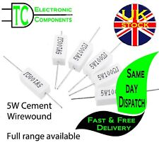 5W Wirewound Cement Resistors Horizontal 5% tolerance Full range available