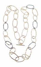 "New 40"" Gun Metal & Gold Tone Large Chain Link Fashion Necklace #N2315"