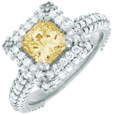 Fancy Yellow Princess Cut Diamond Engagement Ring GIA Certified 2.25 CT 18k Gold