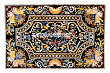 6'x4' Black Marble Dining Table Inlaid Scagaliola Arts New Year Furniture Decor