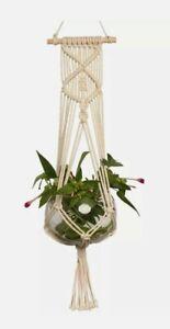 Macrame Plant Hanger Flower Pot Holder Hanging Jute Rope Wall Art Garden