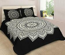 Cotton Double Bedsheet Animal Print Design with 2 Pillow Covers- King Size,Black