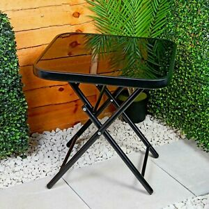 Glass Top Side Table Garden Furniture Patio Rattan Folding Drinks Sun Lounger