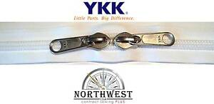 YKK Nylon Coil Zipper Tape # 10 White 5 yards with 5 Nickle Zipper Sliders