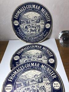 Etiquette De Fromage Ancienne  VOSGES Fraize Colmar Lot De 3