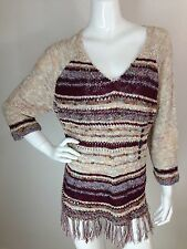 Women's New Plus Size 2X Multi Color Fringe Knit 3/4 Sleeve Sweater Top NWT