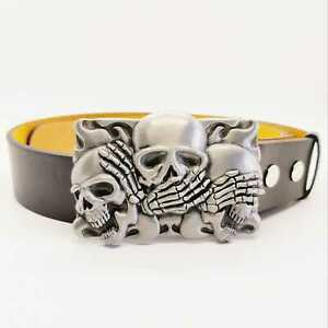 Hear No See No Speak No Evil Skull Skeleton Belt & Buckle Chrome UK Biker Gothic