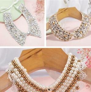 New Women Detachable Lace Pearl beaded Collar Handmade Choker Necklace
