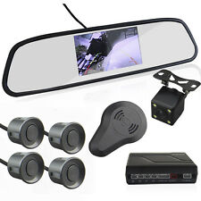 "Car Reverse Rearview 4.3"" Mirror Display Monitor+Camera Radar Alarm Grey Sensors"
