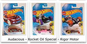 Hot Wheels - Rigor Motor - Rocket Oil Special - Audacious - (3) Art Cars 1 Lot