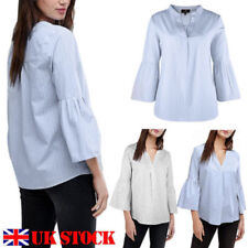 Patternless 3/4 Sleeve Tops & Shirts for Women with Ruffle