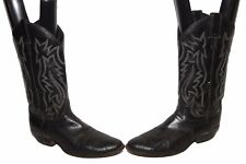 Justin Mens Lizard Cowboy Boots  Style 9304  Size 9 D   Black pre-owned