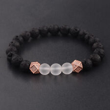 Men Rose Gold CZ Polygon Bracelet Natural Black Lava Rock Gemstone Bead Bracelet