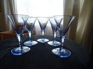 Set of 5 stemmed blue glass liqueur glasses 40 ml