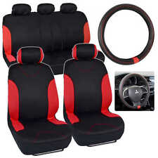 Black / Red Stripes Car Seat Cover with Synthetic Leather Steering Wheel Cover