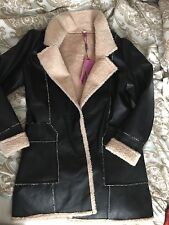Women's leather jacket coat size small with fur on collar and sleeves s/m