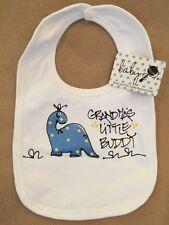 """🍼 INFANT BABY BIB """"Grandma's little buddy"""" White Dinosaur Velcro Shower Gift"""