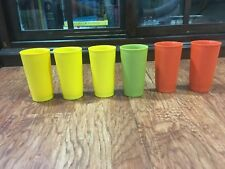 6 Tupperware Cups Glasses Tumblers   #873-20 Harvest Orange Yellow Green