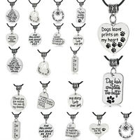 Black Leather Beads Necklace Best Friends Gift Paws Love Dog Pet Charm Pendant