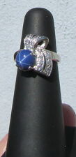Ladies 14k White Gold Star Sapphire and Diamond Ring Size 5.25