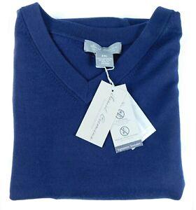 Daniel Cremieux 100% Extra Fine Merino Wool V-Neck LS Men Sweater Navy Blue XXL