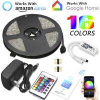 5M RGB 5050 300 LED Strip Light WIFI Control IP65 Full Kit For Alexa Google Home