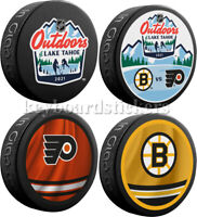 2021 NHL Outdoors 4 Puck Collection Boston Bruins vs Philadelphia Flyers - NEW